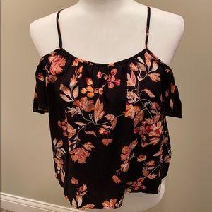 Black floral cold shoulder tank